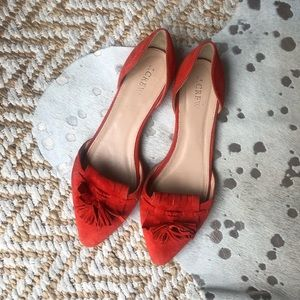 J.Crew Pointed Toe Suede Tassel D'Orsay Flats